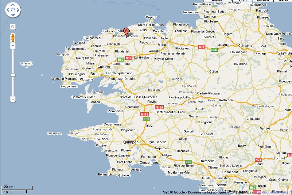 situation de Plounevez-Lochrist en Bretagne